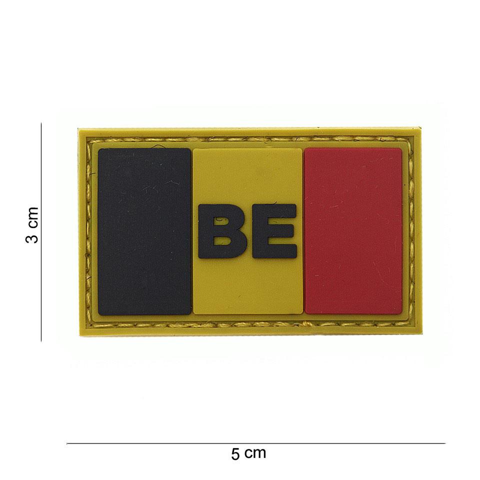 Gumová nášivka 101 Inc vlajka Belgie s nápisem malá