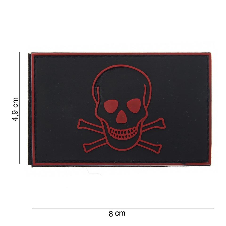 Gumová nášivka 101 Inc Skull and Bones - černá-červená