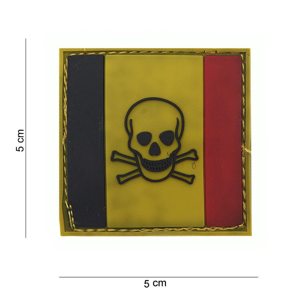 Gumová nášivka 101 Inc Belgium Skull and Bones