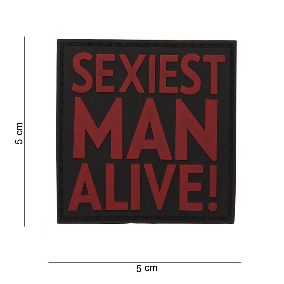 Gumová nášivka 101 Inc nápis Sexiest Man Alive - černá
