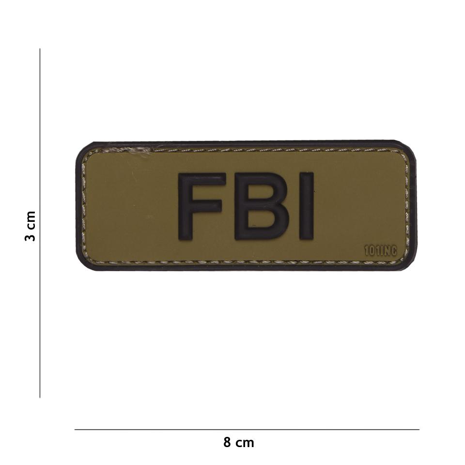 Gumová nášivka 101 Inc nápis FBI - coyote