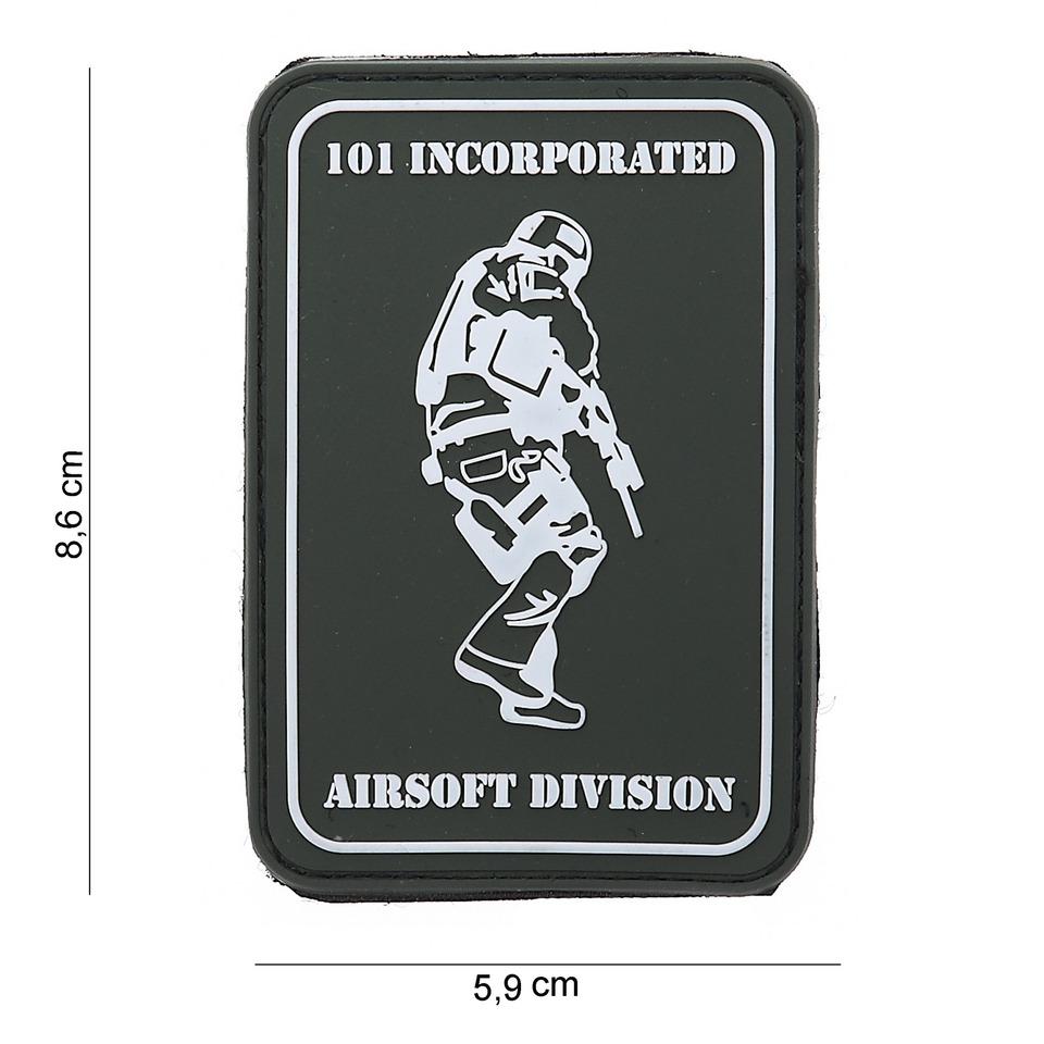 Gumová nášivka 101 Inc Airsoft Division Sniper - černá