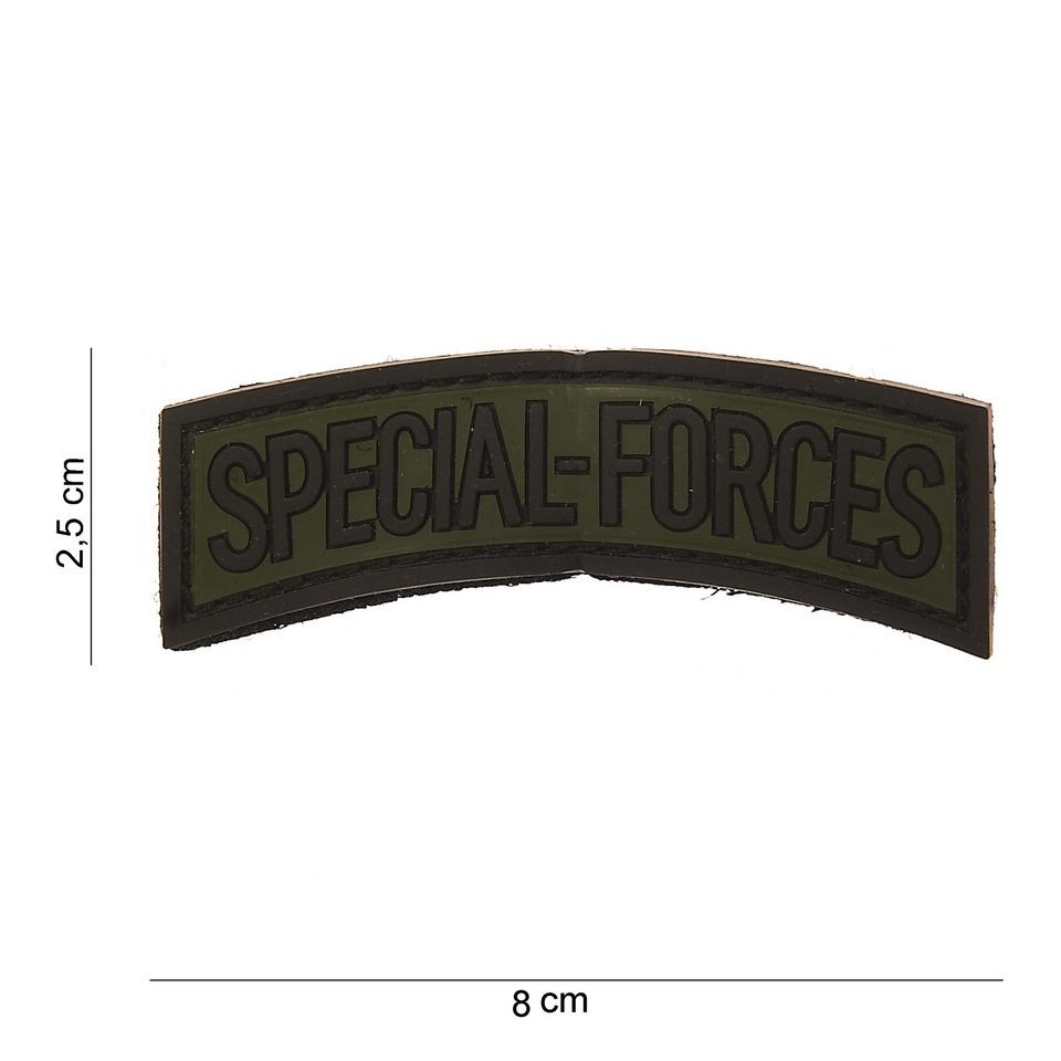 Gumová nášivka 101 Inc nápis Special Forces - olivová