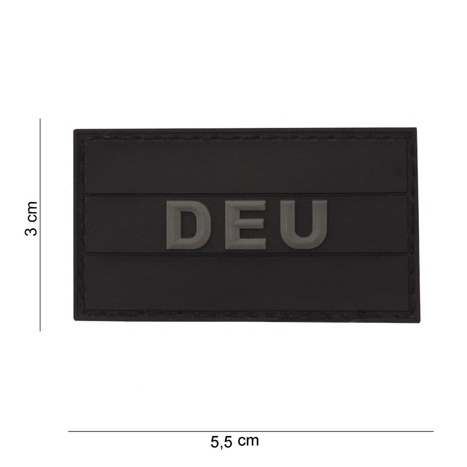 Gumová nášivka 101 Inc vlajka Německo s nápisem - černá