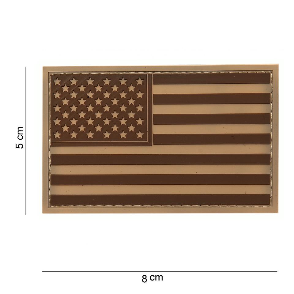 Gumová nášivka 101 Inc vlajka USA - desert