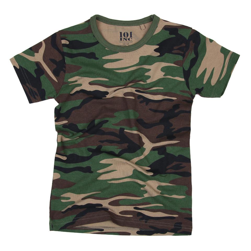 Maskáčové tričko dětské 101 Inc Tee - woodland, 146