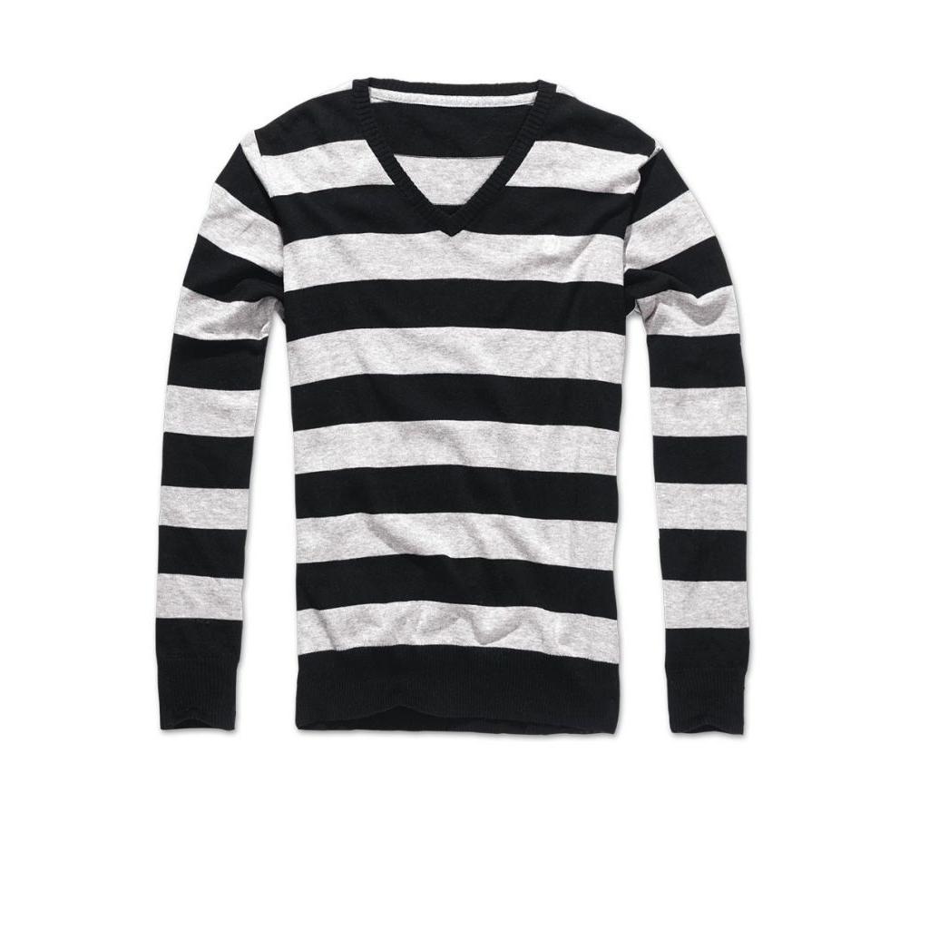 Svetr Brandit London V-Neck - černý-šedý, XXL
