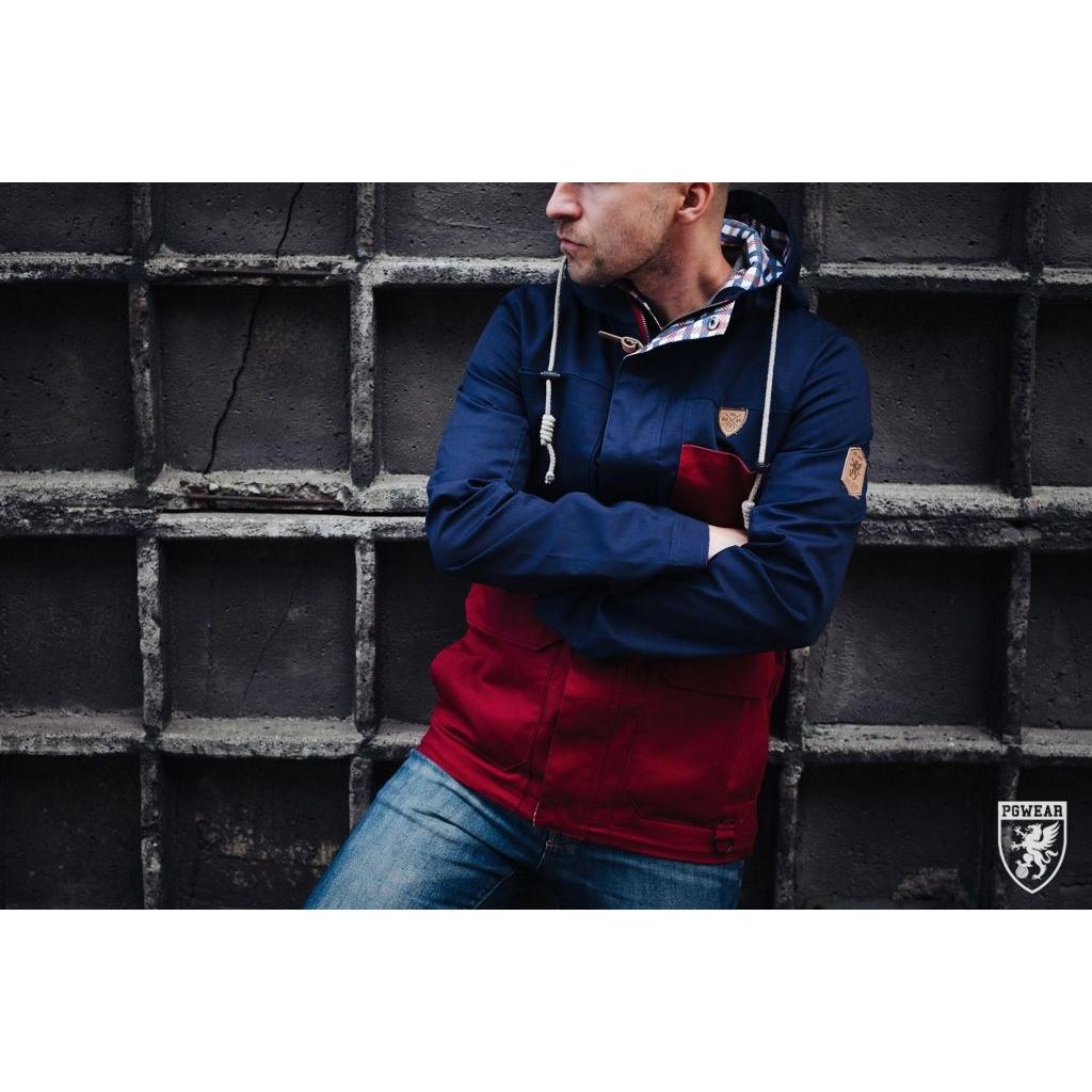 Bunda PGwear Parka - červená-modrá, L