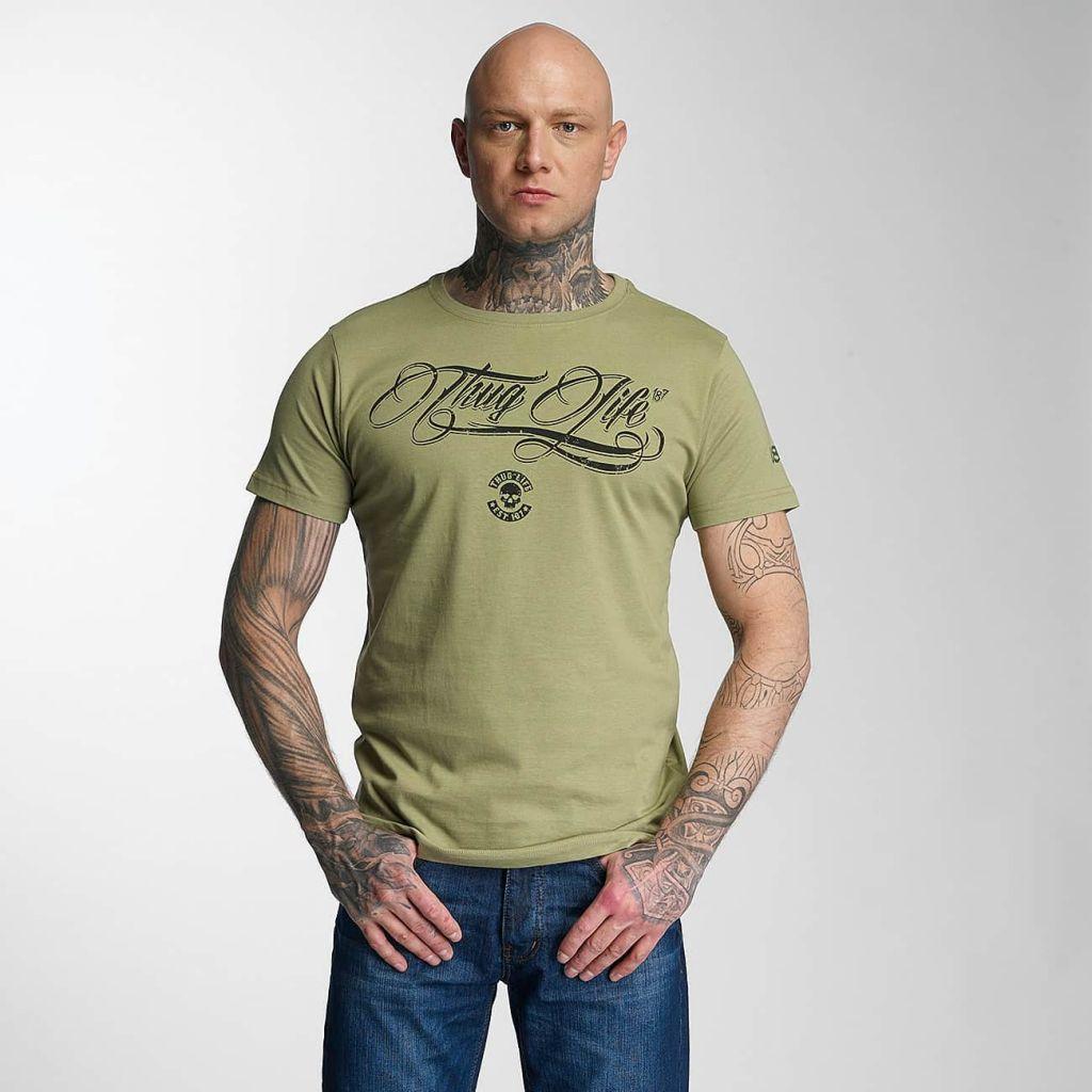 Tričko Thug Life Logo 187 - olivové, S