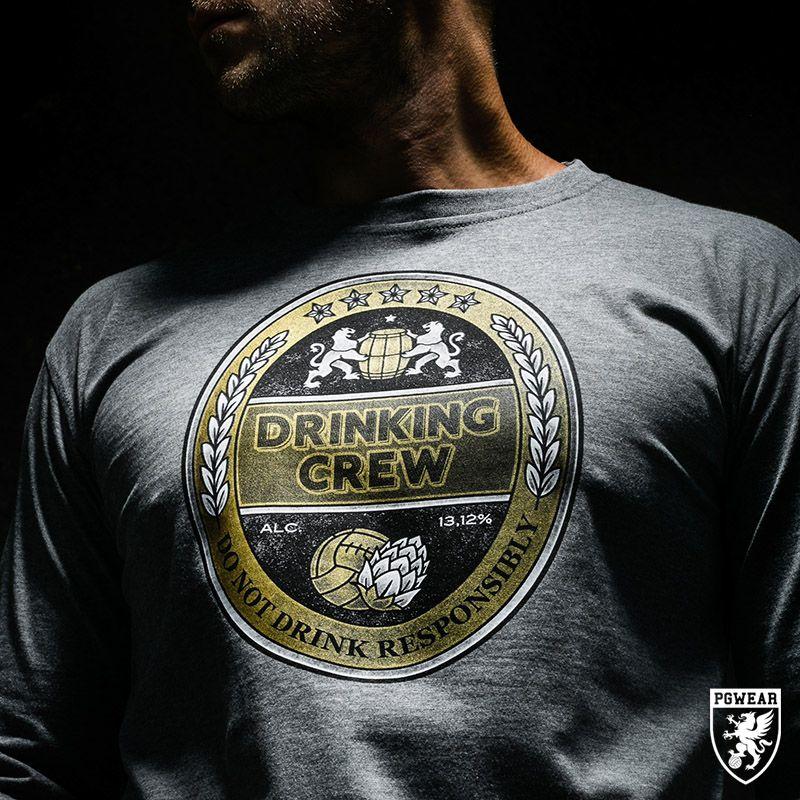 Triko s dlouhým rukávem PGwear Drinking Crew - šedé, S