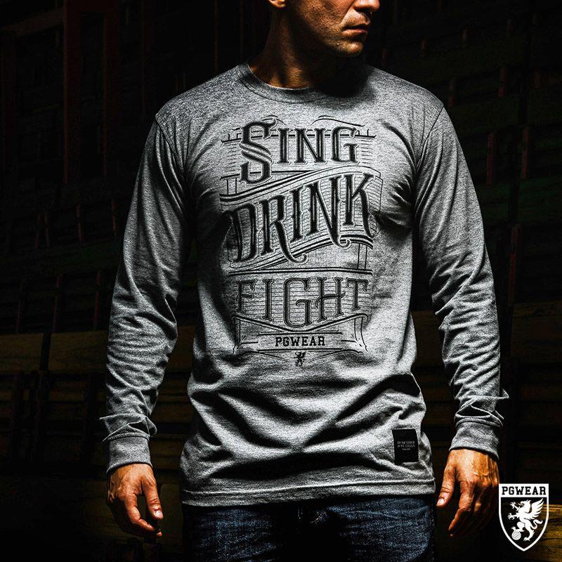 Triko s dlouhým rukávem PGwear Sing Drink Fight - šedé, S