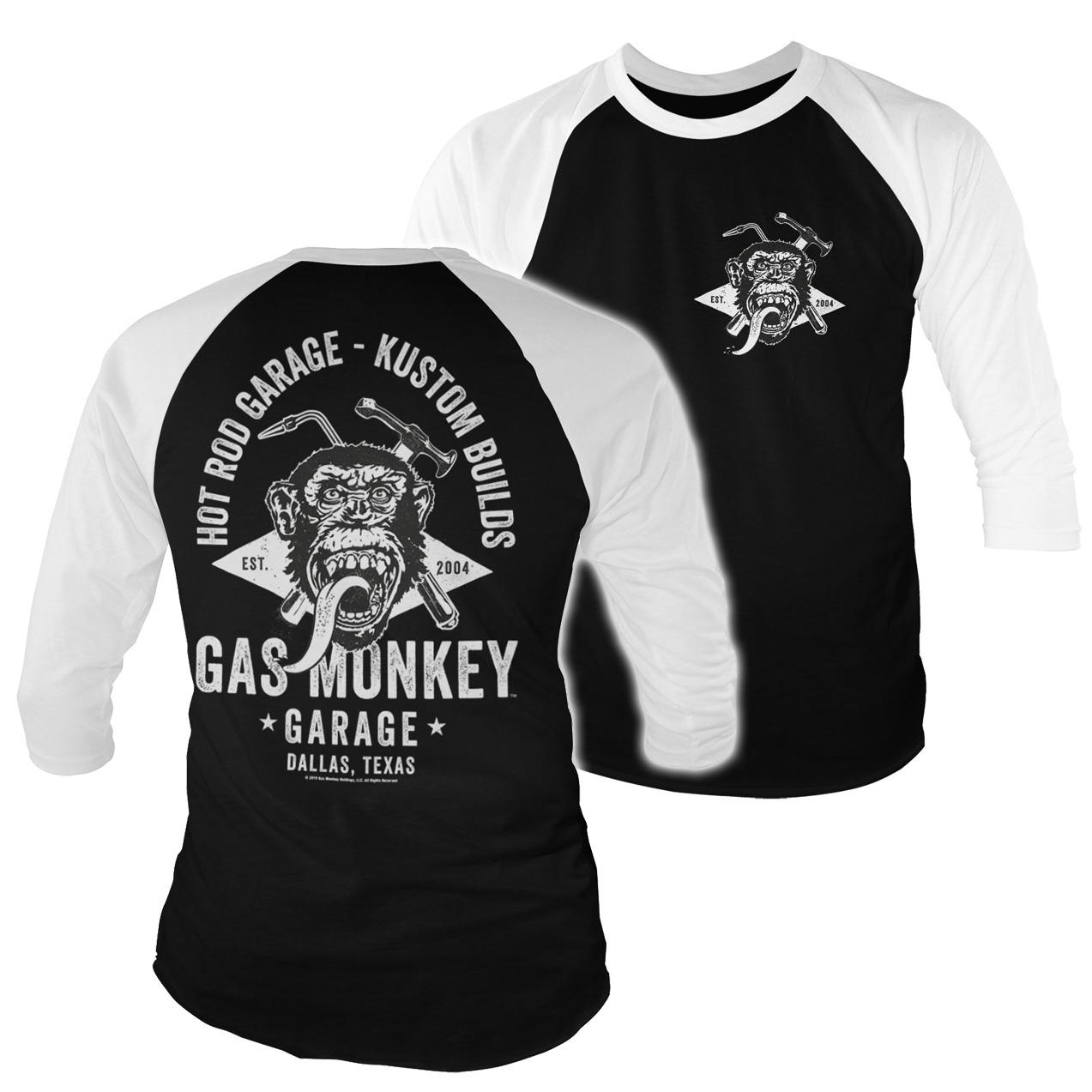 Triko 3/4 Gas Monkey Garage Torch & Hammer - černé-bílé, S