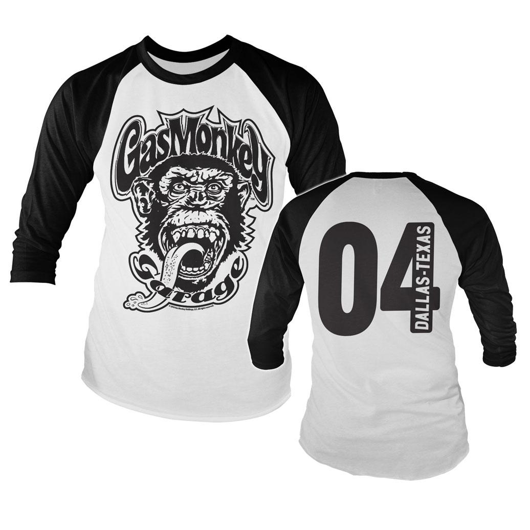 Triko dlouhý rukáv Gas Monkey Garage 04 Baseball - bílé-černé, L