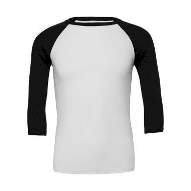 Tričko Bella Triblend Baseball 3/4 - bílé-černé, XS